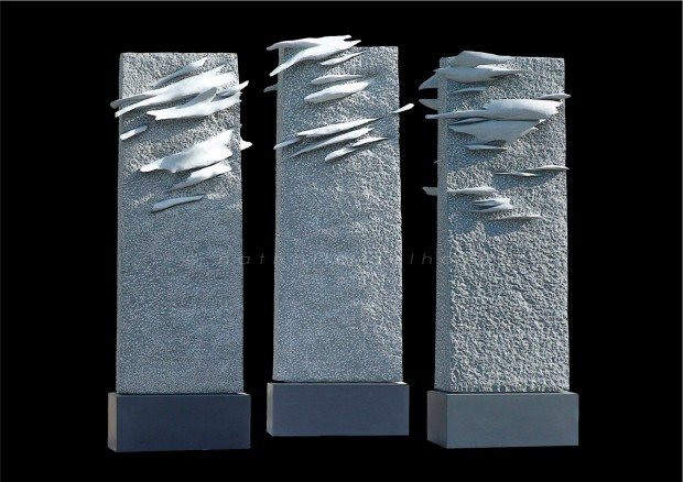 3 fulgurances de lumière ou la ténèbre transfigurée  granit noir Impala  250x110x90 cm  2008